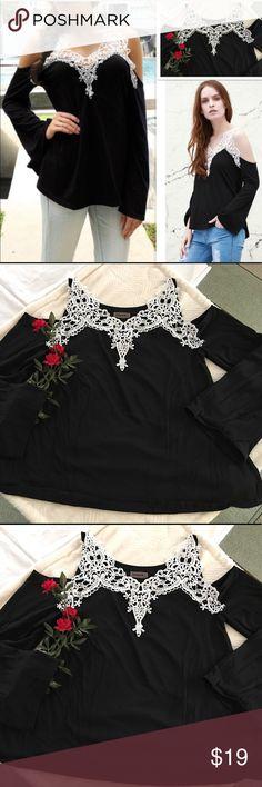 "Crochet cold shoulder t shirt Romantic crochet cold shoulder bell sleeve t shirt, v-neck, scoop hem, fabric has a gentle stretch, but very sturdy cotton. Sz M bust = 36"" length from shoulder = 26"" sz XL bust = 40"" length from shoulder = 27"" Tops Tees - Long Sleeve"
