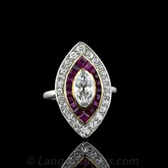 Original Art Deco Marquise Diamond and Ruby Ring
