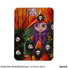 Purple Hair Witch Skull Flowers Pumpkins Halloween Rectangular Photo Magnet