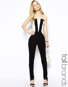 Paper Dolls Tall Strapless Color Block Jumpsuit