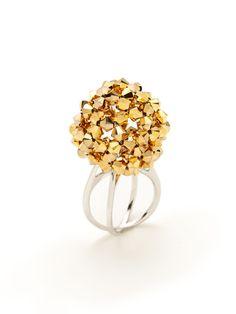 Mod Ball Gold Crystal Criss-Cross Dome Ring by k2o by Karen Ko