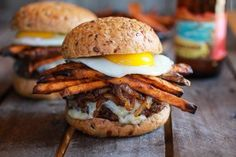 Epic Crispy Quinoa Burgers Topped with Sweet Potato Fries, Beer Caramelized Onions + Gruyere-13