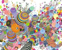 """""""American artist Jen Stark was born in Miami, Florida in 1983 and received her BFA from Maryland Institute College of Art in 2005. Her kaleidoscopic artwork brings to mind fractals, rainbows, geodes and topographic maps. Using paper, poster board and a whole lot of patience, she creates, using an X-acto knife, some pretty out there, beautiful, rainbow-colored, sophisticated, complicated art pieces."""