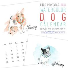 I am so excited about this Free Printable 2018 Watercolor Dog Calendar…it is to CELEBRATE NATIONAL DOG DAY!  So all of you Dog lovers are going to love it and that makes me really happy!  Hope this Free Printable makes you HAPPY!!!    Print them out and you will be ready for the New Year with …