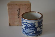 Ceramic futa-oki ladle rest for tea ceremony, boxed, vintage Japanese by StyledinJapan on Etsy