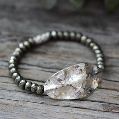 <h3>Hammered Rustic Silver Pyrite Cuff Bracelet, Handmade Bead Work Jewelry for Bohemian Woman</h3>