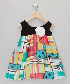 Take a look at this Black Lattice Patchwork Bubble Dress - Infant, Toddler & Girls by Kid Fashion on #zulily today!