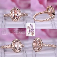 Oval Morganite Engagement Ring Pave Diamond Halo Wedding 14K Rose Gold 6x8mm Art Deco