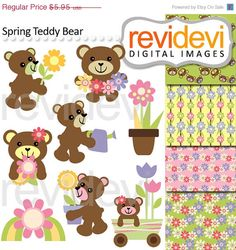 80% OFF SALE Clipart teddy bear.. commercial use.. by revidevi