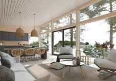 Architect Tuuli Petäjä-Sirén: Honka's new holiday homes invite you to unwind in the lap of nature - Honka Summer House Interiors, Bungalow Interiors, Cabin Interiors, A Frame Cabin Plans, Living Room Upstairs, Scandinavian Cottage, Contemporary Kitchen Design, Log Homes, Home And Living