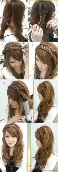 Long Curly Hair with Pretty Braids Wrapped Around as Headbands <3 !!
