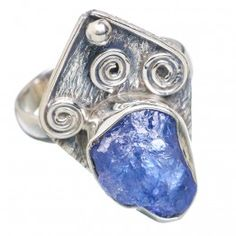 925 SOLID STERLING FINE SILVER ROUGH TAVZANITE RING