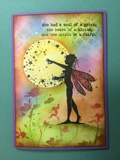 She was unique! Fairy Quotes, Lavinia Stamps Cards, Fairy Silhouette, Crafters Companion Cards, Fairy Pictures, Ink Stamps, Tampons, Fairy Art, Copics