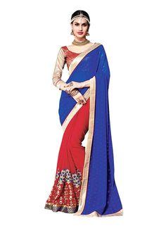Glorious Multi Colour Embroidered Work Designer Saree