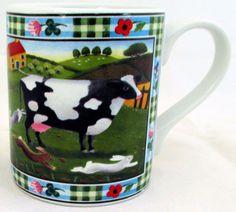 Cow Mug Exclusive Funny & Cute Cow Farm Scene Porcelain Mug Hand Made in UK #RainbowDecorsLtd #Contemporary