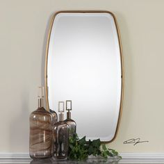 Canillo Antiqued Gold Mirror Uttermost Oval Mirrors Home Decor