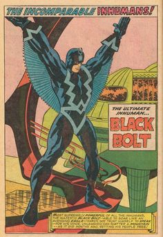 Black Bolt of Inhumans - Pencils by Jack Kirby - Printed page