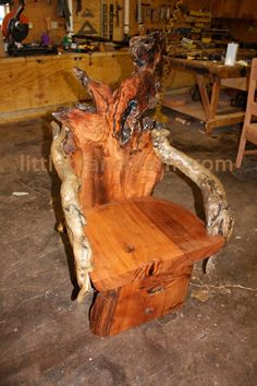 Rustic Chairs Designed And Crafted Around Natural Live Edge Burl Wood  Slabs, Driftwood, Leather, Twisted Juniper And Root Systems Creating  Originals.