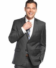 Lauren by Ralph Lauren Solid Charcoal Jacket Big and Tall - Suits & Suit Separates - Men - Macy's