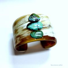 Horn cuff with turquoise @Gus Mayer Nashville