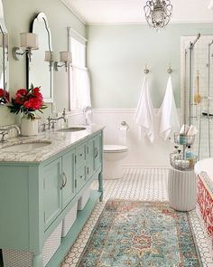 Cozy and Colorful Country Cottage Home Tour - Minty aqua blue/green painted vanity cottage glam master bath makeover. Cozy and Colorful Country Cottage Home Tour - Minty aqua blue/green painted vanity cottage glam master bath makeover. Lavabo Vintage, Bathroom Inspiration, Bathroom Ideas, Bathroom Makeovers, Bathroom Bin, Bathroom Cabinets, Bathroom Vanities, Bath Ideas, Bathroom Designs