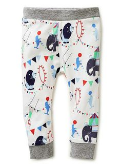 cotton/elastane legging with all over circus print and contrast rib cuff and waistband