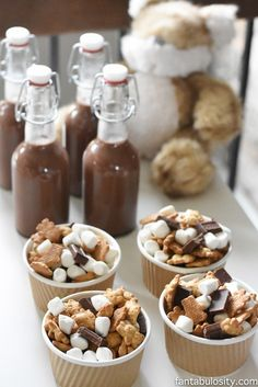 A Camp-In Sleepover! Smores trail mix for a camping party! Teddy Grahams, marshmallows and Hershey Bars! How fun is this! It's all so cute!!! Camping Sleepover Birthday Party Ideas! Pottery Barn Kids, fake fire, tents, sleeping bags, fire birthday cake, kaleidoscope, birthday banner.