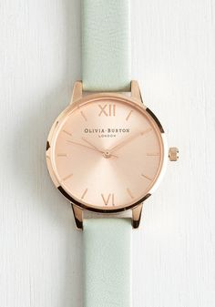 Olivia Burton Undisputed Class Watch in Rose Gold/Mint - Petite | Mod Retro Vintage Watches | ModCloth.com
