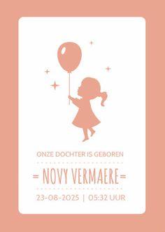 Lief en hip geboortekaartje met een silhouet van een meisje die een ballon vasthoud, met eronder haar naam en ruimte voor bijv. een geboortedatum.  #lief #hip #geboortekaartje #meisje #baby #silhouet #roze