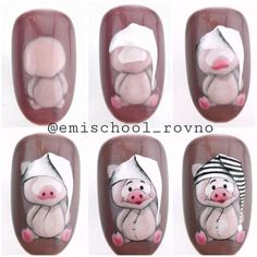 Pig nail art is in a high demand now. See the cutest nail designs with this year`s symbol! Pig Nail Art, Pig Nails, Animal Nail Art, Xmas Nails, New Year's Nails, Beautiful Nail Designs, Cute Nail Designs, Cute Nails, Pretty Nails