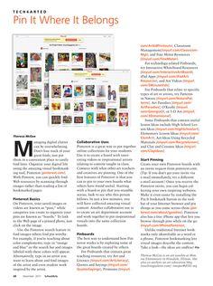 Pinterest for Art Teachers - SchoolArts Tech4artEd article