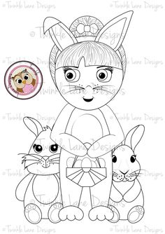 Betty And The Bunnies Digi Stamp For Easter With Eggs Bunny Rabbits Girl