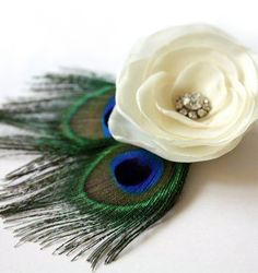 Peacock feathers with flower Hairpiece/clip :  wedding accessory bride bridesmaid bridesmaids clip feather flower flowers green hairpiece ivory jewelry peacock rhinestone Peacock Feather Flower 3