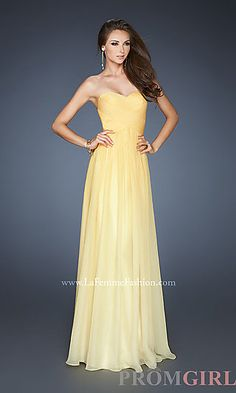 Long Strapless Ombre Gown by La Femme 18415 at PromGirl.com... Beauty and the Beast-- Belle
