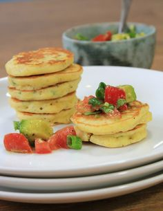 Jalapeno Corn Cakes with Avocado Salsa | A Spicy Perspective #appetizer #corn #salsa