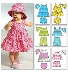 Best 12 Special Clothes For A Special Little Girl! Patterns included for: sundress with ruffled skirt capri pants shorts panties hat In four sizes: newborn, small, medium, large Butterick 5017 Brand new and un-cut. From a smoke and pet free home. Baby Girl Dress Patterns, Little Girl Dresses, Baby Patterns, Butterick Sewing Patterns, Dress Sewing Patterns, Baby Outfits, Kids Outfits, Sewing Dress, Sundress Pattern