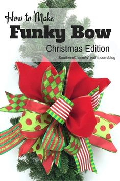 "Use Scraps of Ribbon to Create a Funky Bow - This bow is easy peasy! I know you can make this bow! I developed the ""funky bow"" technique a few years ago when t. Christmas Bows, Christmas Crafts, Christmas Decorations, Christmas Ornaments, Xmas, Burlap Christmas, Christmas Trees, Christmas Holidays, Homemade Decorations"