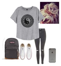 """""""G r e y"""" by staychic-fashion ❤ liked on Polyvore featuring JanSport, Topshop, H&M and Converse"""