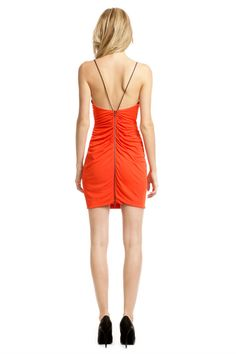 Love the back of this dress! Cut 25 Orange Mesh Insert Dress via Rent the Runway. Orange matte jersey with mesh inserts(100% rayon). Cowl neckline. Cross back straps. Ruched bodice. Exposed back zip. 35'' from shoulder to hem.