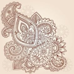 Abstract Henna Mehndi Paisley Hand-Drawn Doodle Vector Illustration Design Elements Stock Photo