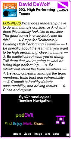 #BUSINESS #PODCAST  David DeWolf    002: High Performing Teams    LISTEN...  http://podDVR.COM/?c=21e520b8-19ed-4ff9-aec0-fb55b2851ed1
