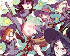 ( Good anime for Harry Potter lovers AND Anime fans! =^_^= ki ) Little Witch Academia Little Witch Academia Little Wich Academia, My Little Witch Academia, Anime Witch, Fanart, Lwa Anime, Manga Anime, Anime Art, Harry Potter, Estilo Anime