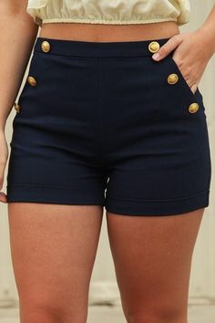 Best Selling-Women's Casual and Social High Waist Summer Shorts with Button Decor Along the Pockets-Size Up to Damen, Slim Fit, lässig und sozial, mit hoher Taille und Knopfdekor entlang der Taschen, Marineblau Mode Outfits, Short Outfits, Casual Outfits, Summer Outfits, Fashion Outfits, Women's Casual, Women's Fashion, Ladies Fashion, Casual Decor