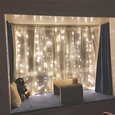 Boho Bedroom Twinkle Star 300 LED Window Curtain String Light Wedding Party Home Garden Bedroom Outdoor Indoor Wall Decorations, Warm White Dorm Room Curtains, Window Curtains, Sheer Curtains, Garden Bedroom, Home Decor Bedroom, Bedroom Ideas, Bedroom Wall, Hipster Bedroom Decor, Warm Bedroom