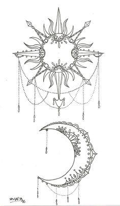 Moon Sun Tattoo, Sun Tattoos, Nature Tattoos, Body Art Tattoos, Tattoo Drawings, Tattoo Art, Hand Tattoo, Sun And Moon Tattos, Trible Tattoos