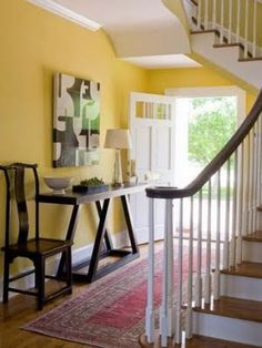 Yellow hallway ideas yellow home accents mustard decor best Yellow Hallway, Hallway Colours, Yellow Walls, White Walls, Wall Colours, Hallway Decorating, Entryway Decor, Ikea Hallway, Hallway Ideas