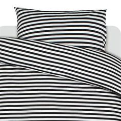 Tasaraita pillow case - black-white pillow case - Marimekko