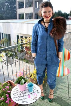 """♥ this look on whatiwear.com by MELA D. """"THE DENIM OVERALLS !"""" http://www.whatiwear.com/look/detail/184503"""