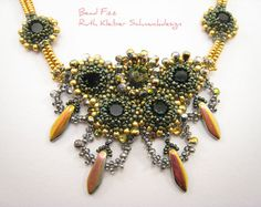 Bead Embroidery Collar Statement Necklace with Flowers and