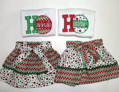 Toddler Girl's Christmas Outfit - Santa Pictures - First Christmas - Red - Green - Chevron - Polka Dots - Bling - Ornaments